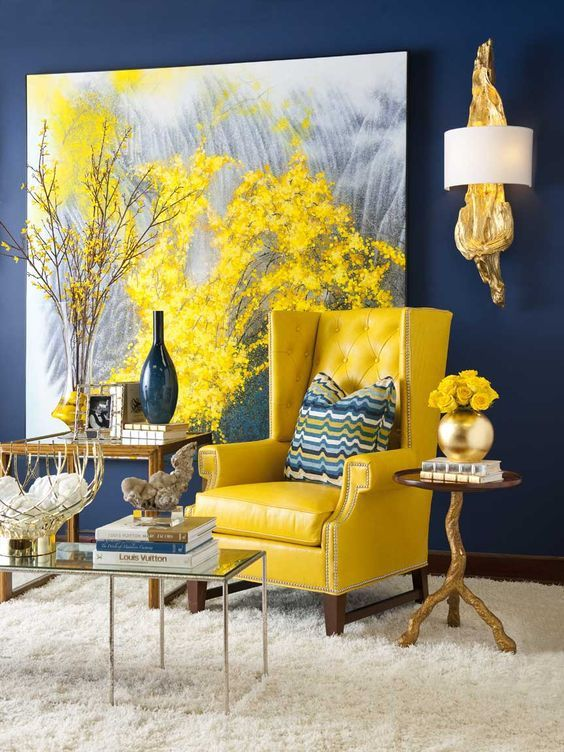 yellow chairs for living room modular furniture how bold colour will depicts in the decohoms area with blue painted wall chair metallic coffee table wooden side