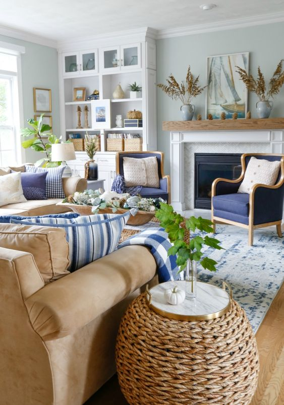 rattan side tables living room colour schemes with grey sofa refreshing and natural coastal look on the decohoms wooden floor blue white rug brown table