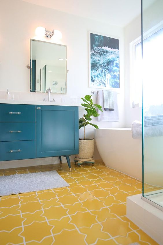 Bright Ambiance In The Bathroom With Yellow Color Decohoms