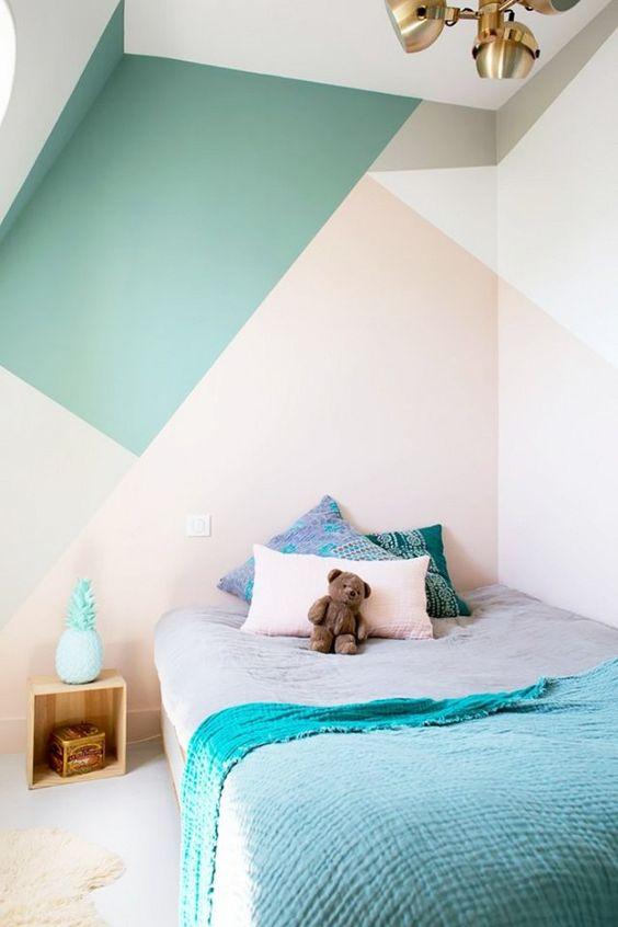 Pintura de paisajes parte 1: 10 Habitaciones juveniles con paredes geométricas