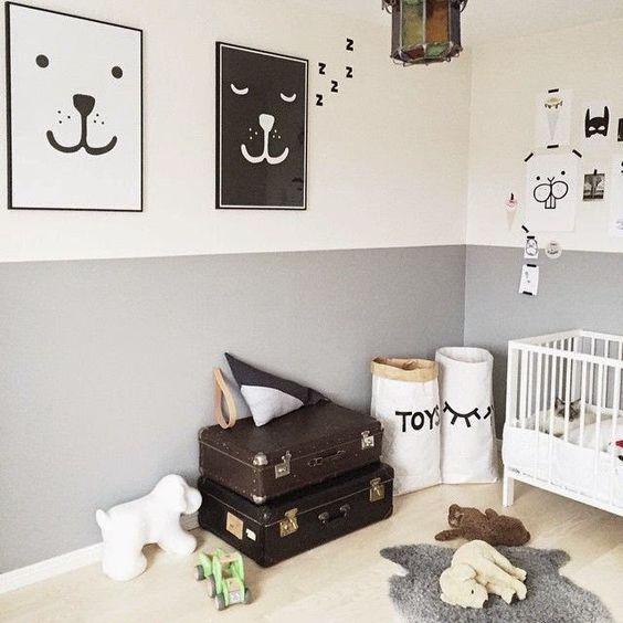 Ideas para pintar la habitacin del beb en dos colores