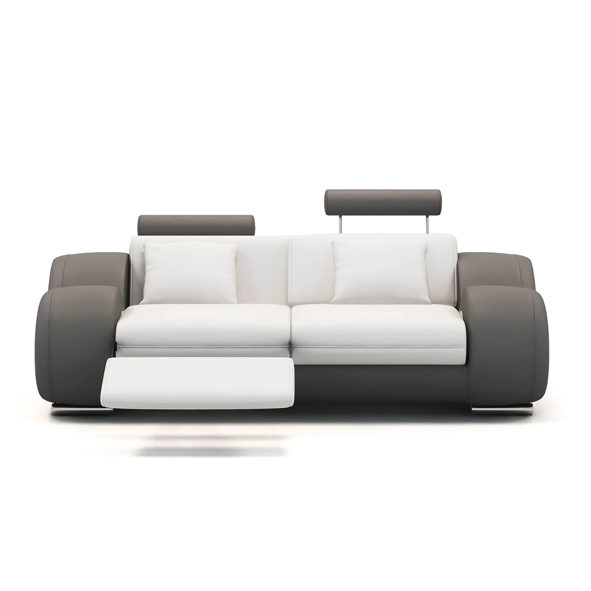 canape 2 places design relax oslo en cuir blanc et gris