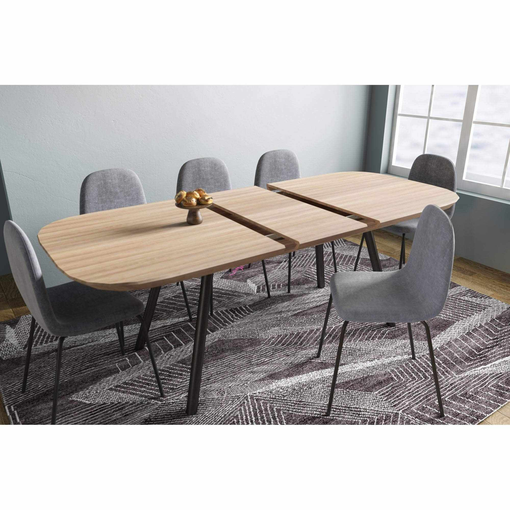 table a manger extensible plaque chene pieds metal 6 8 personnes agustin