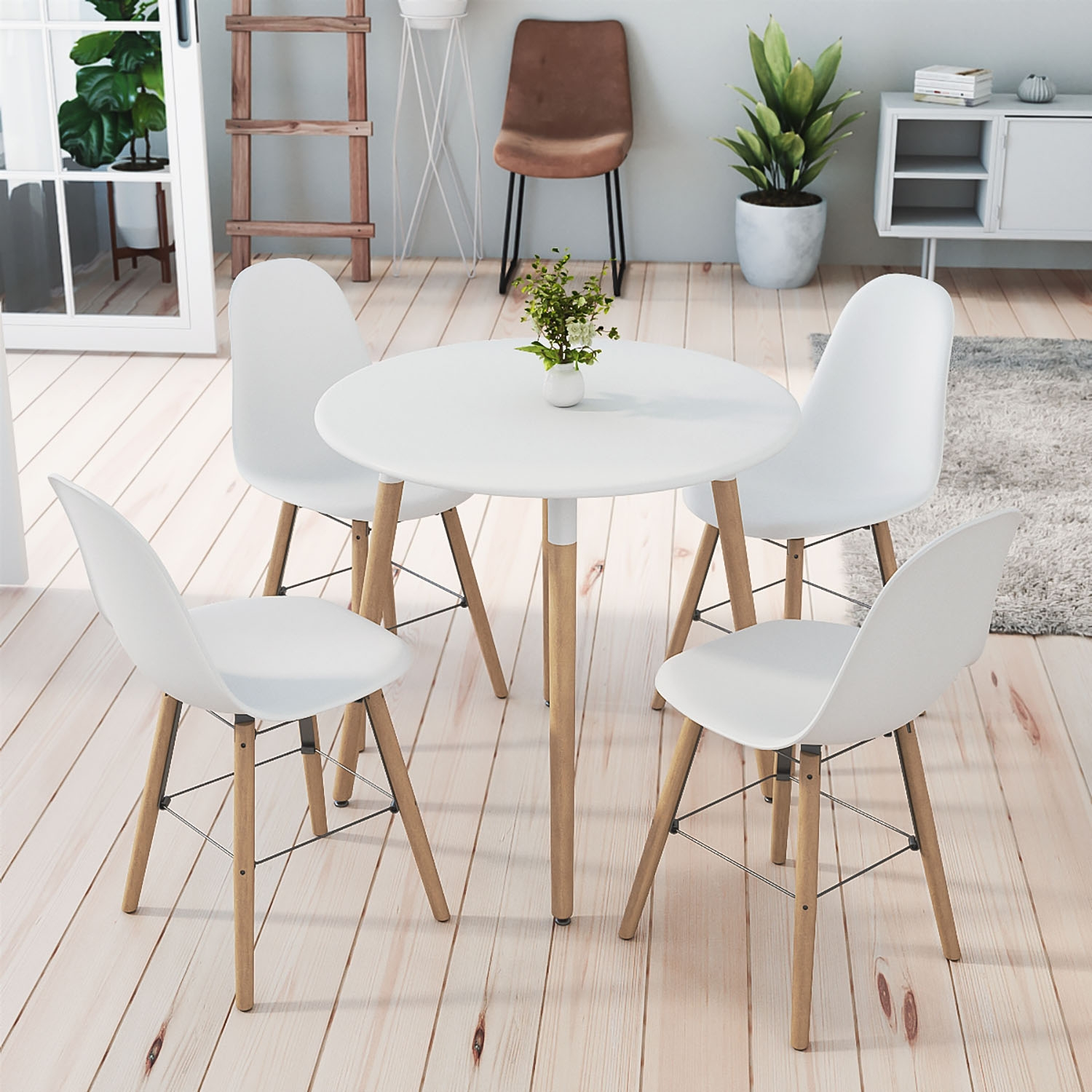 ensemble table ronde rimma 4 chaises blanches scandinaves
