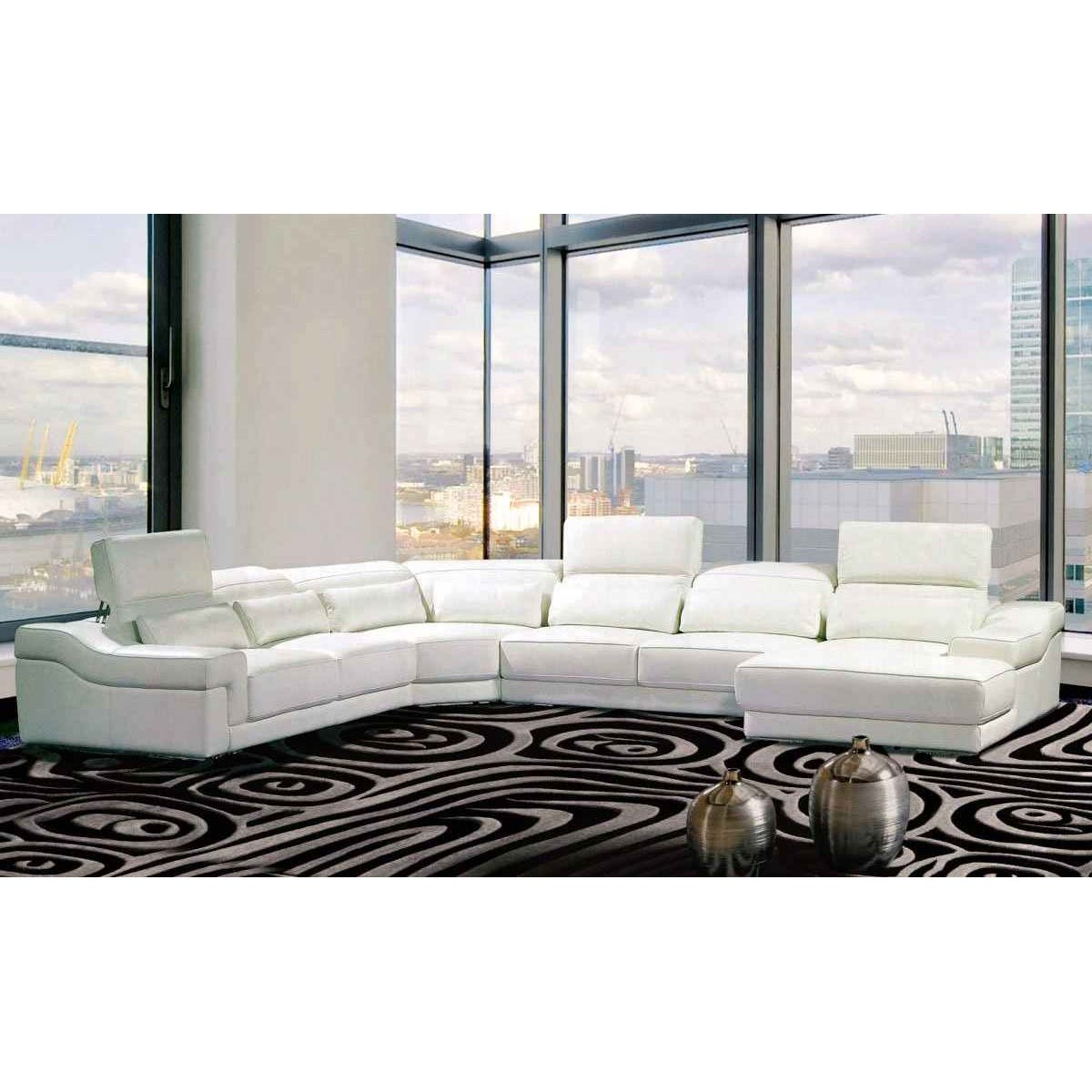 DECO IN PARIS  Canape panoramique cuir blanc avec tetieres relax panama can pano anglegauche