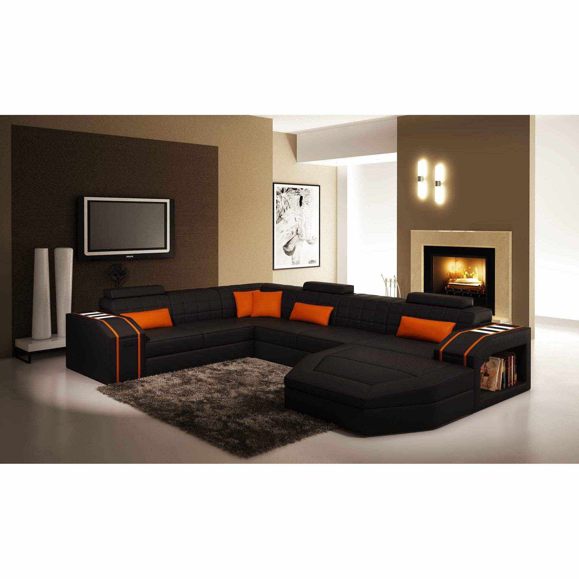 orange and black sofa bed sater uk deco in paris canape d angle panoramique cuir noir et