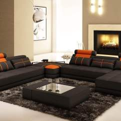 Orange And Black Sofa Bed Leather Brands Reviews Deco In Paris Canape D Angle Panoramique Cuir Noir Et