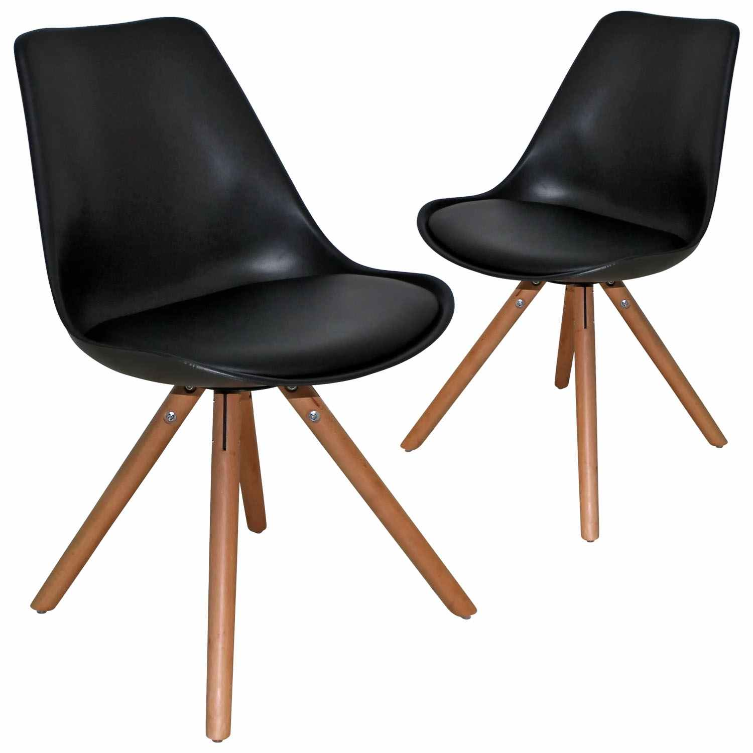 DECO IN PARIS 3lot De 2 Chaises Design Noir Velta Velta