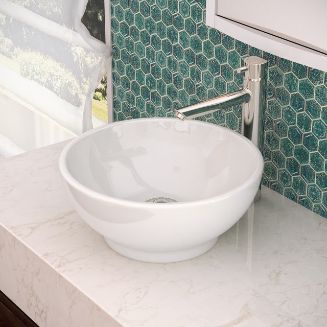 DECOLAV 1441 CWH Round Counter Vitreous China Bathroom Sink