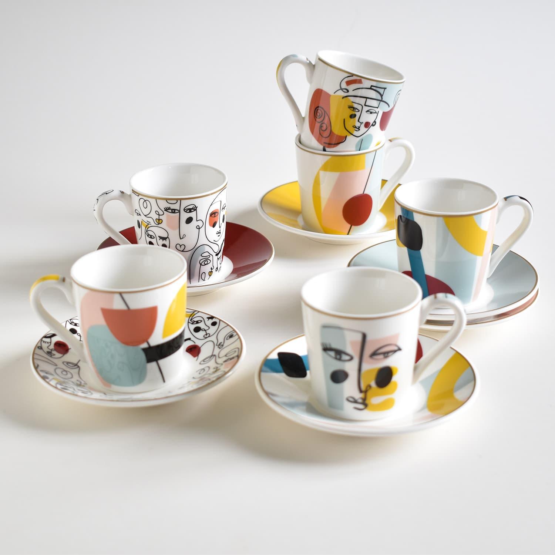 coffret 6 tasses a cafe expresso et soucoupes modernism