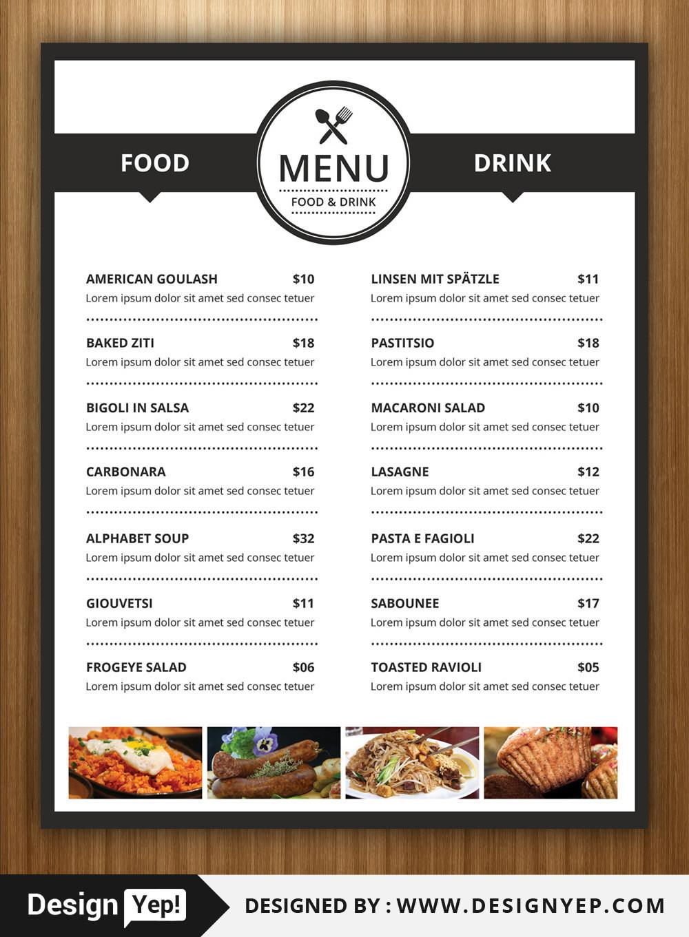 Free Restaurant Menu / Flyer Psd Template