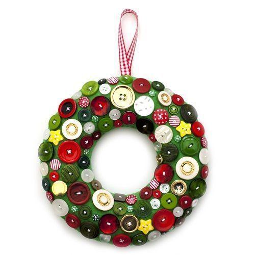 coronas de Navidad originales con botones 1