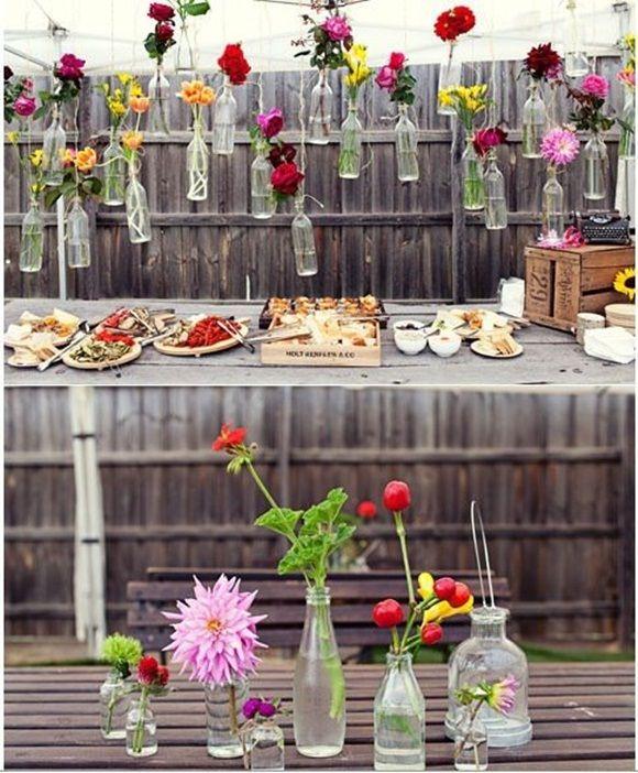 decoracion vintage con flores y vidrio reciclado 1