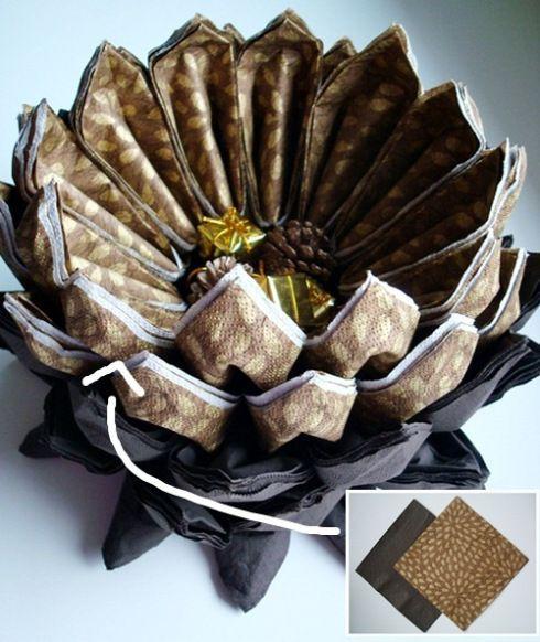 Centros para decorar la mesa con servilletas de papel 3