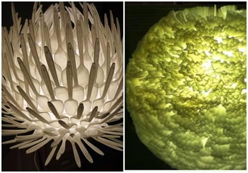 Cómo hacer lámparas con objetos desechables13