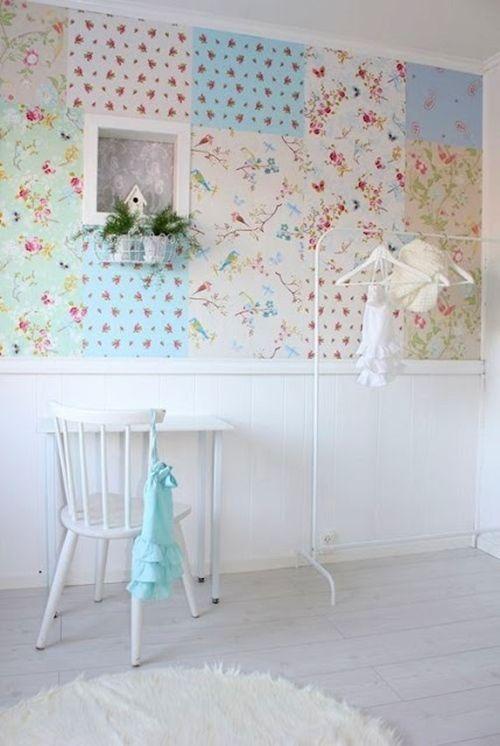 Ideas patchwork para paredes vintage decomanitas - Papel para paredes con gotele ...