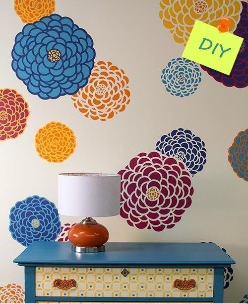 Plantillas para pintar paredes con flores decomanitas Plantillas decorativas ikea