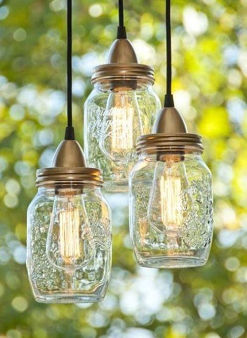 Ideas para decorar con tarros de vidrio lámparas DIY 1