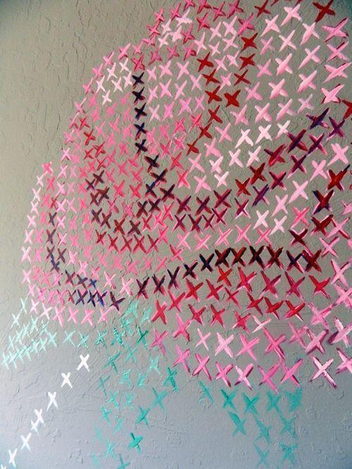 Pintar paredes con esquemas de punto de cruz  Decomanitas