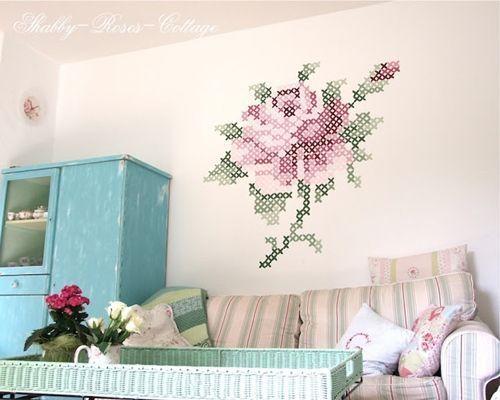 Pintar paredes con esquemas de punto de cruz decomanitas - Pintar facil paredes ...
