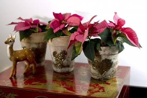 Decoracion navideña con flor de pascua de estilo vintage 5