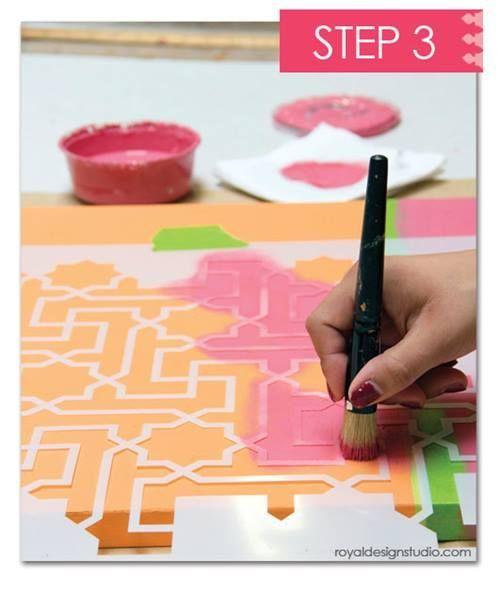 como decorar mi casa con stencil de motivos geometricos de estilo marroqui 13