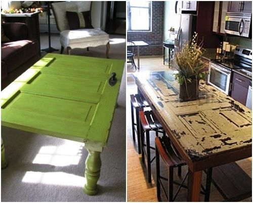 Ideas para reciclar muebles mesas espejos y cabeceros a partir de puertas viejas decomanitas - Como reciclar muebles ...