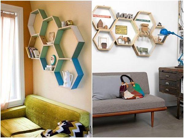 Decoración retro con estanterías de pared en forma de hexágono 7