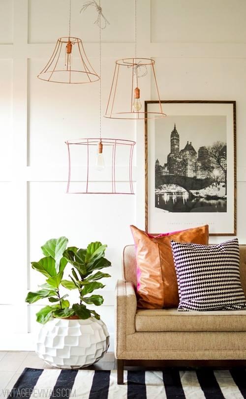 Lámparas de techo cool en tubo de cobre 1