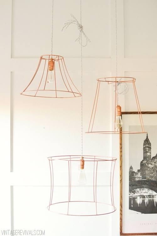 Lámparas de techo cool en tubo de cobre 2