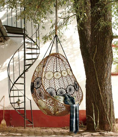 knotted melati hanging chair, crinkled plaid throw