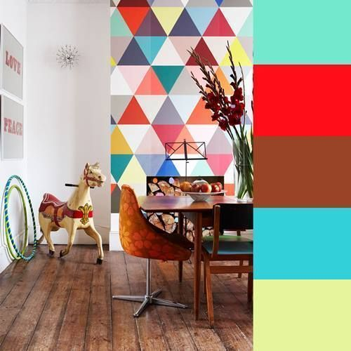 Decoración retro con triángulos Eames multicolor 1