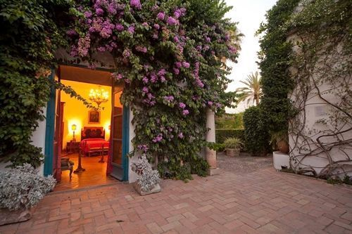 hostal con patio cordobés rodeado de plantas trepadoras
