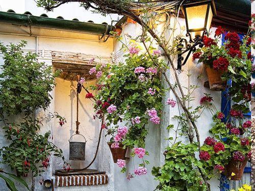 el pozo y el farol en el patio cordobés típico