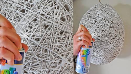 Cómo hacer lámparas de techo con cuerda y globo 3