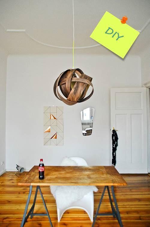 Cómo hacer una lámpara moderna con chapa de madera  1