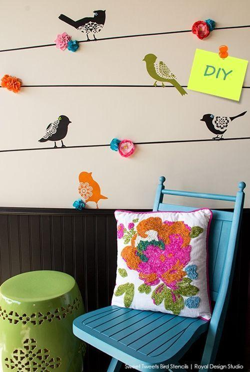 Plantillas para pintar paredes alegres con p jaros - Plantillas pared ikea ...
