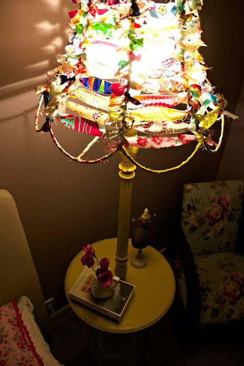 Pantallas de lámparas originales con trapos reciclados 3