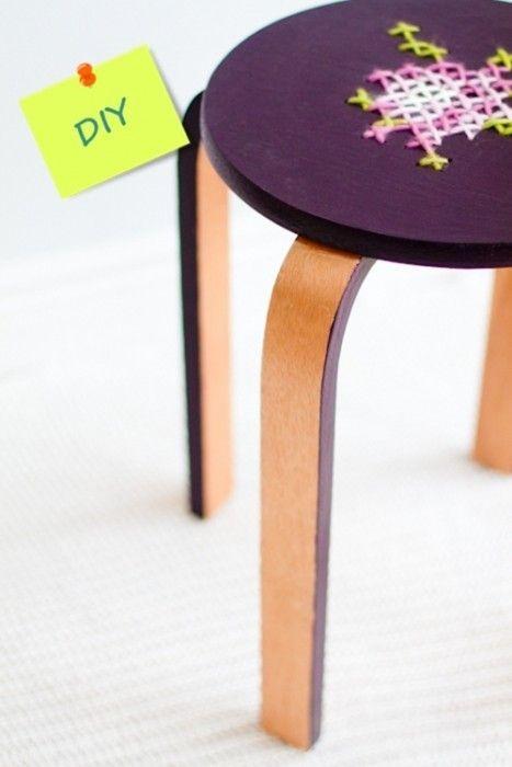 DIY fácil taburete de Ikea tuneado con falso punto de cruz 1