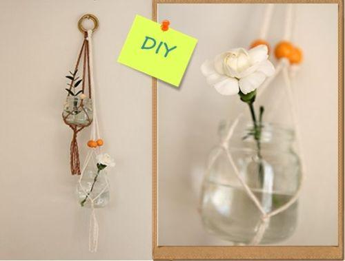 Manualidades para casa reciclar tarros de cristal con macramé 1