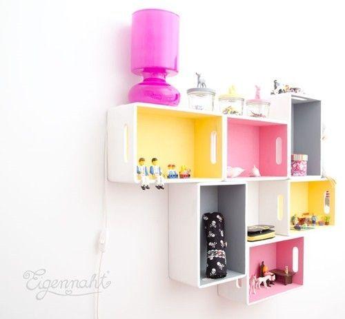 15 ideas para decorar cajas de madera y tunearlas en estanter as decomanitas - Ideas para decorar cajas de madera ...