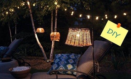 L mparas recicladas con cestos para decoraci n de for Lamparas decorativas para jardin