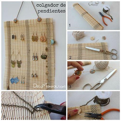 organizador de pendientes DIY reciclando un mantel de bambú 1