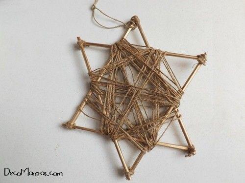 Estrellas de Navidad DIY con palitos y cuerda 18