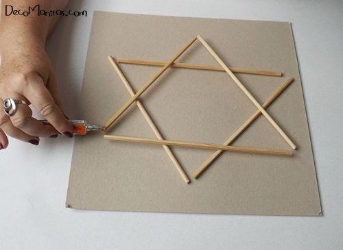 Estrellas de Navidad DIY con palitos y cuerda 5