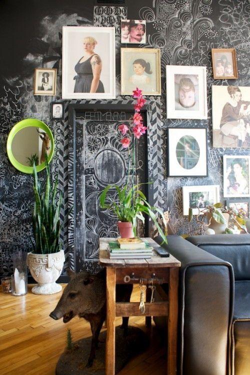 Pintar paredes de pizarra acuarela, empapelar con trampantojos qué idea 7