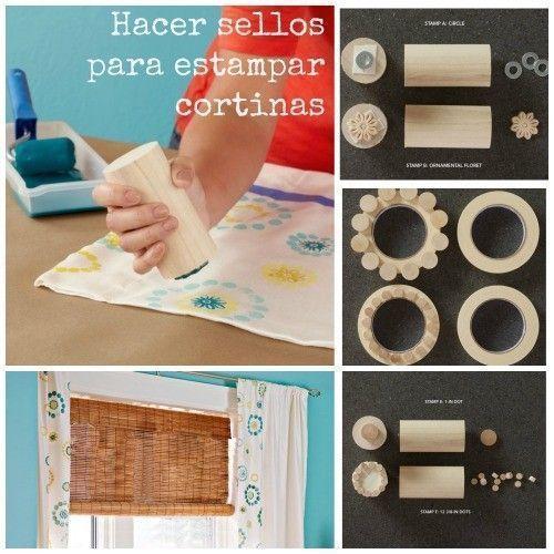 Pintura en tela estampar cortinas con sellos DIY 2
