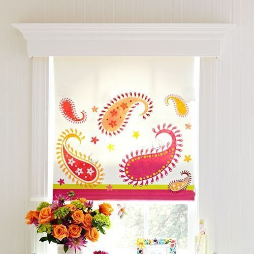 Pintura en tela estampar cortinas con sellos DIY 5