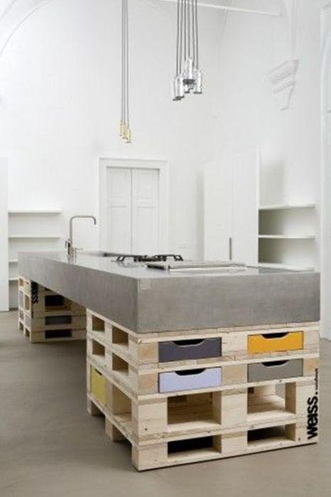 muebles con palets originales para cocinas de estilo industrial
