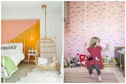 Dos geniales ideas para decorar habitaciones infantiles con silla colgante y columpio DIY.